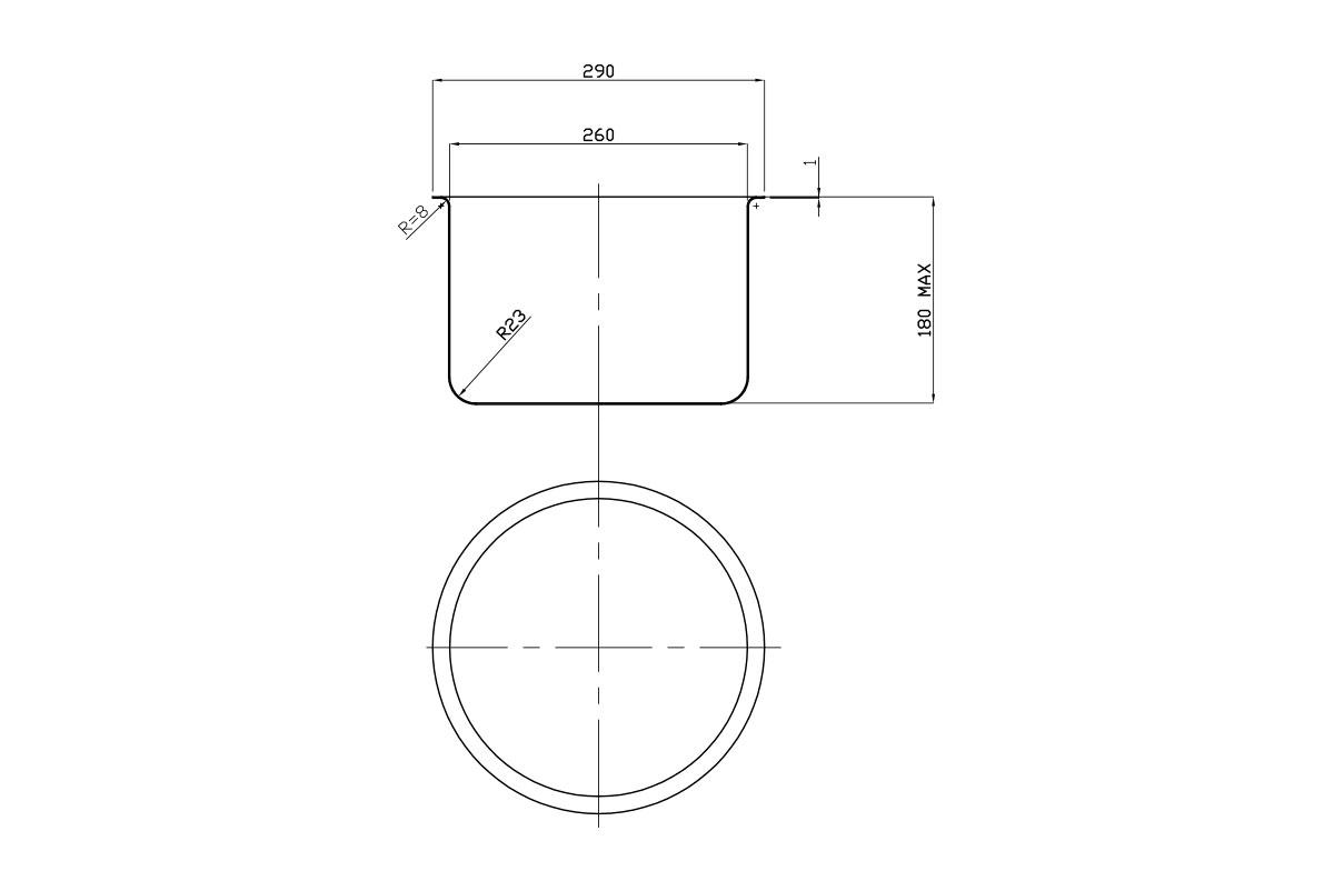 Vaschetta cilindrica 260